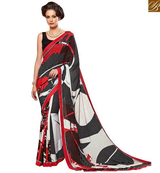 BEAUTEOUS VIBRANT COLOR SAREE BLOUSE DESIGN VAR1857 BY WHITE RED & BLACK