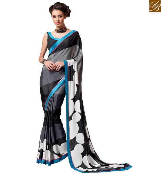 BEWITCHING DESIGNER DIGITAL PRINTED SARI VAR1860 BY GREY & BLACK