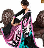 CAPTIVATING BLACK DIGITAL PRINTED SAREE BLOUSE DESIGN VAR1861 BY BLACK