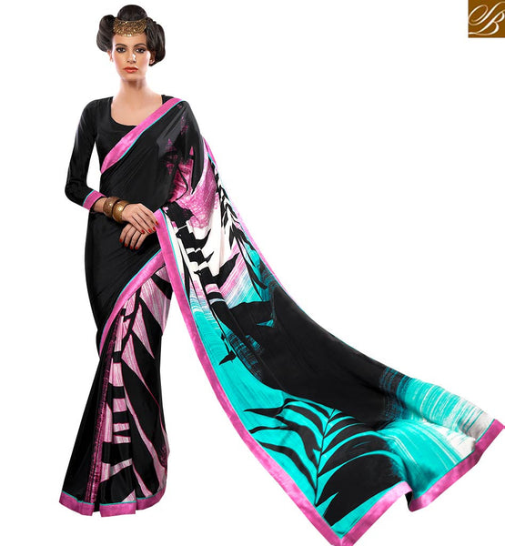 CAPTIVATING BLACK DIGITAL PRINTED SAREE BLOUSE DESIGN VAR1861