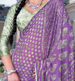PRINTED PURPLE CASUAL WEAR SAREE RTKOR187A