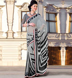 OFF-WHITE & BLACK CASUAL WEAR SAREE RTKOR189