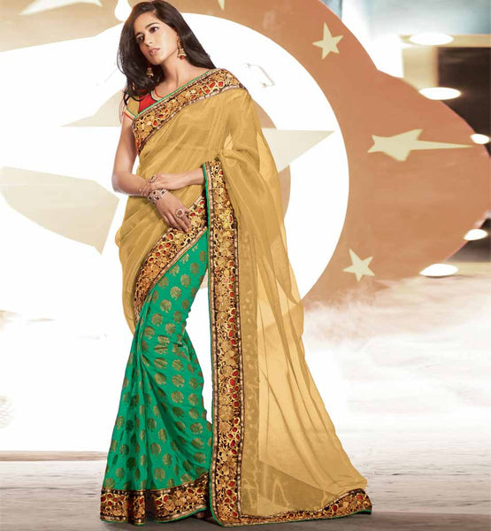 STYLISHBAZAAR SPECIAL OCCASION WEAR SAREE ONLINE SHOPPING INDIA CREAM GREEN NET VISCOSE