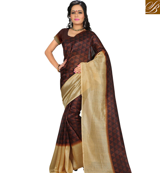 STYLISH BAZAAR INTRODUCES APPEALING PRINTED BROWN SAREE WITH CREAM BORDER RTVAN18