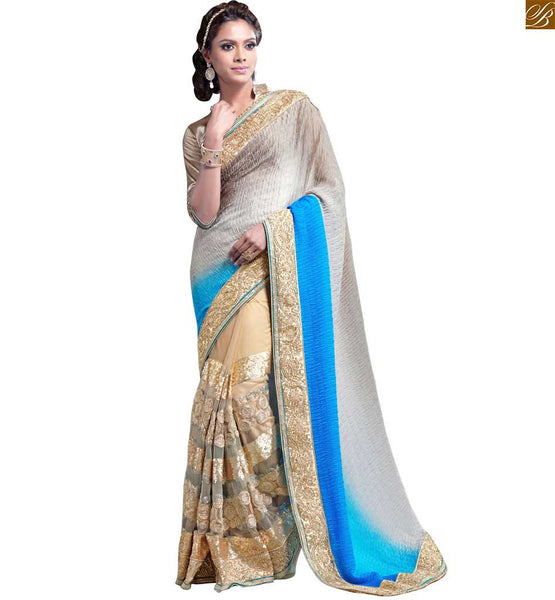 FROM THE HOUSE  OF STYLISH BAZAAR BEWITCHING SKY BLUE AND CREAM SAREE ALONG WITH CREAM BLOUSE RTMAG19