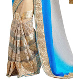 STYLISH BAZAAR PRESENTS BEWITCHING SKY BLUE AND CREAM SAREE ALONG WITH CREAM BLOUSE RTMAG19