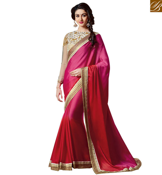 STYLISH BAZAAR ENTHRALLING DUAL COLORED SAREE DESIGN FOR PARTIES VAR1905