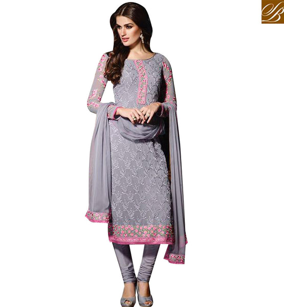 STYLISH BAZAAR APPRECIATING GREY GEORGETTE STRAIGHT CUT EMBROIDERED SALWAR KAMEEZ EKT1907