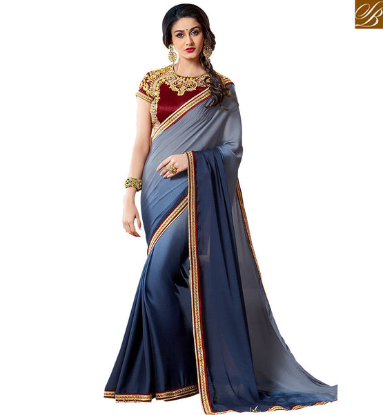 EXQUISITE HALF AND HALF SAREE ACCOMPANIED WITH A DESIGNER BLOUSE VAR1907