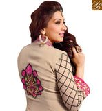 CREAM BOLLYWOOD CELEBRITY SONALI BENDRE DESIGNER SALWAR KAMEEZ ONLINE SHOPPING INDIA