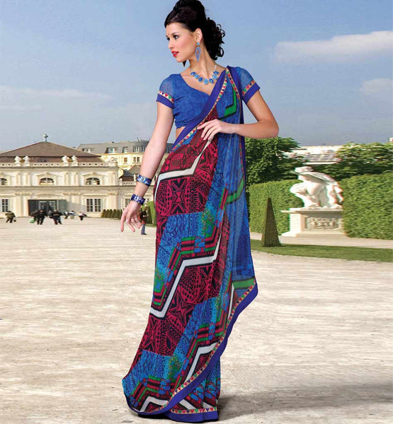 BLUE & PINK CASUAL WEAR SAREE RTKOR190B