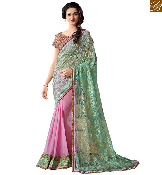STYLISH BAZAAR GORGEOUS HALF AND HALF EMBROIDERED SAREE DESIGN VAR1910