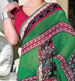 GREEN CASUAL WEAR SAREE RTKOR194A