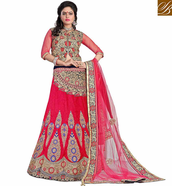 FROM STYLISH  BAZAAR EXOTIC EMBROIDERED LEHENGA SARI DESIGN MCU2194