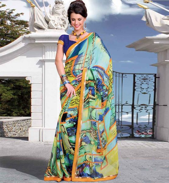 CASUAL WEAR MULTICOLOR SAREE RTKOR197