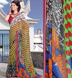 GREEN & MAROON CASUAL WEAR SAREE