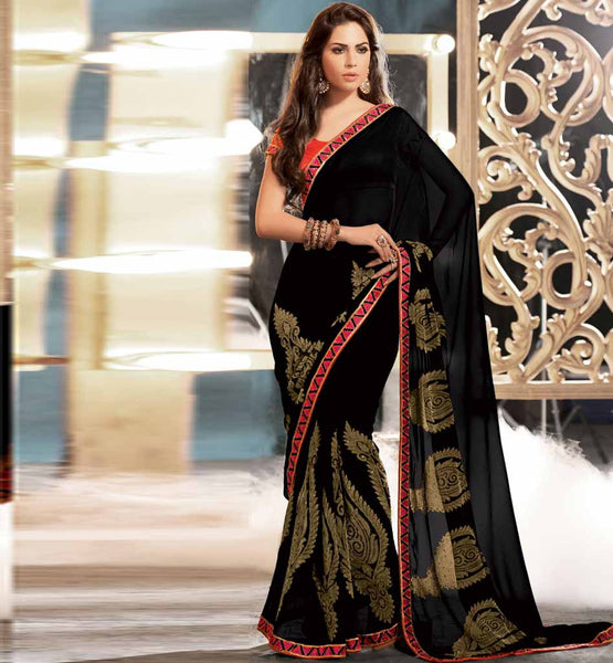 PARTY WEAR SAREES ONLINE SHOPPING IN INDIA WITH BLOUSE STYLISH BAZAAR BLACK VISCOSE
