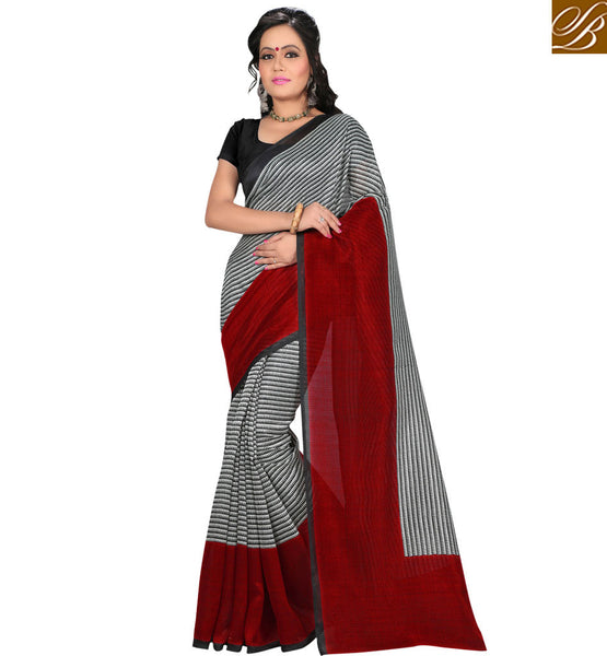 TRENDY PRINTED BLACK AND RED SARI WITH RED BORDER RTVAN19 BY BLACK & RED