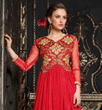 RICH DESIGN RED NET GOWN AT REALLY REASONABLE PRICE