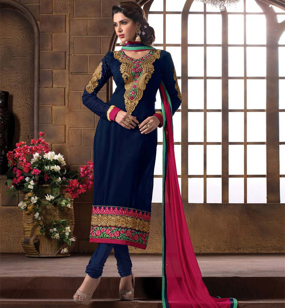 2015 DESIGN LADIES WEAR SALWAR KAMEEZ DRESS MATERIAL SHOP ONLINE NAVY BLUE GEORGETTE