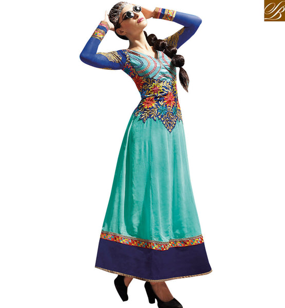 ATTRACTIVE GREEN GEORGETTE PARTY WEAR ANARKALI DRESS RTASM1