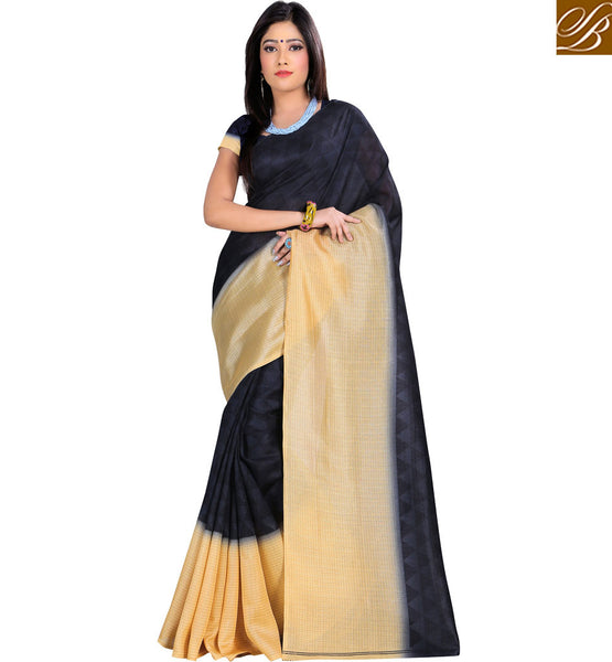 STUNNING BLACK AND CREAM SARI AND BLOUSE RTVAN1 BY BLACK & CREAM