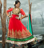 BHAGYASHREE IN RED DESIGNER  ANARKALI DRESS SALWAR SUIT