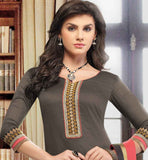 BLACK KURTI WITH PINK CHURIDAR AND CHIFFON DUPATTA