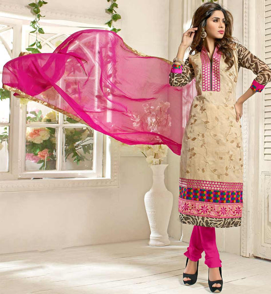 CREAM CASUAL WEAR CHANDERI COTTON SALWAR KAMEEZ WITH NAZNEEN DUPATTA VDANT7001