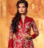 1 DIA MIRZA RED JACKET STYLE LEHENGA WITH LONG CHOLI A1