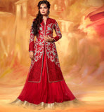 1 DIA MIRZA RED JACKET STYLE LEHENGA WITH LONG CHOLI A