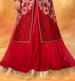 1 DIA MIRZA RED JACKET STYLE LEHENGA WITH LONG CHOLI F