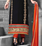 GOOD LOOKING BLACK GEORGETTE PARTY WEAR STRAIGHT CUT SALWAR SUIT  WITH ORANGE SALWAR AND DUPATTA