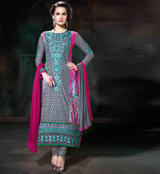 GOOD LOOKING GREY GEORGETTE PARTY WEAR STRAIGHT CUT SALWAR SUIT