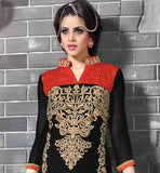 IMAGE OF BEAUTIFUL BLACK SALWAR SUIT WITH CHINESE BROAD COLLAR GEORGETTE FABRIC