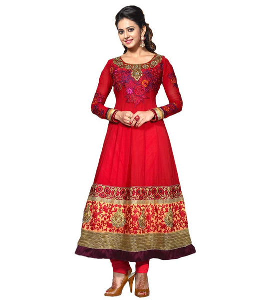 RAKUL PREET SINGH ANARKALI SALWAR KAMEEZ DRESS SHOP ONLINE RED