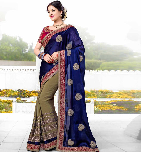 LATEST RAJWADI SAREE WITH DESIGNER BLOUSE BLUE & CREAM SEQUIN TIKIWORK TIKI