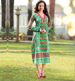 PURE COTTON GREEN FULL SLEEVE KURTHI FOR WOMEN NEW 2015 STYLE INDIAN TUNIC  TOP SHOPPING
