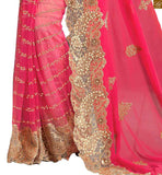 SPELLBINDING PINK GEORGETTE AND NET SAREE WITH CREAM BLOUSE RTMAG20