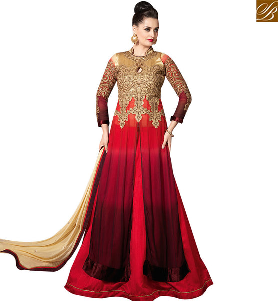 STYLISH BAZAAR BEAUTIFUL RED GEORGETTE DESIGNER SUIT HAVING WELL MOTI WORK ON TOP WITH LEHENGA STYLE SLMHK20001