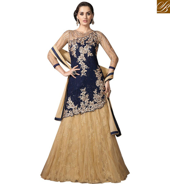 STYLISH BAZAAR PLEASING NAVY BLUE GEORGETTE SUIT HAVING TWO STYLE LEHENGA AND PLAZZO SLMHK20002