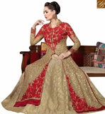 A STYLISH BAZAAR PRESENTATION MAGNIFICENT BEIGE GEORGETTE DESIGNER SUIT HAVING RED EMBROIDERY ON TOP WITH LEHENGA STYLE SLMHK20004