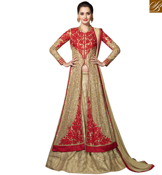 STYLISH BAZAAR MAGNIFICENT BEIGE GEORGETTE DESIGNER SUIT HAVING RED EMBROIDERY ON TOP WITH LEHENGA STYLE SLMHK20004