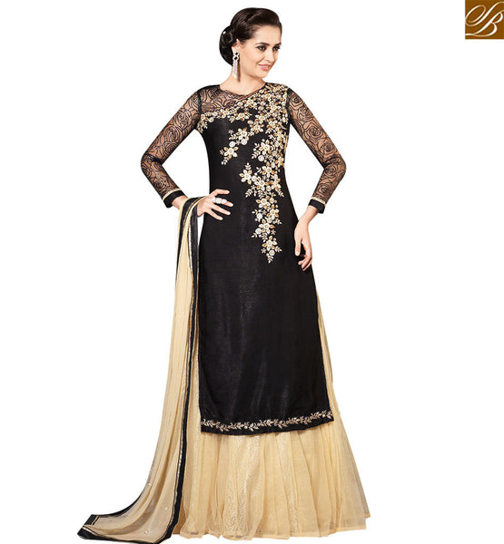 STYLISH BAZAAR DAZZLING BLACK GEORGETTE EMBROIDERED SUIT HAVING TWO BOTTOM PLAZZO AND LEHENGA SLMHK20006