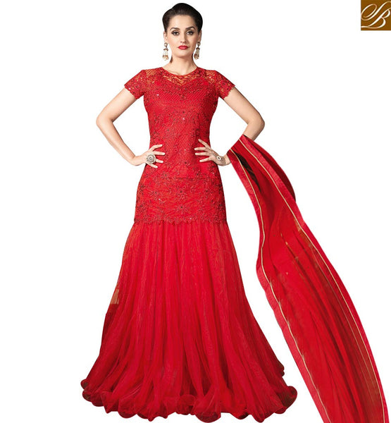 STYLISH BAZAAR CAPTIVATING RED NET DISPLAYING DESIGNER EMBROIDERY IN LEHENGA STYLE SLMHK20007