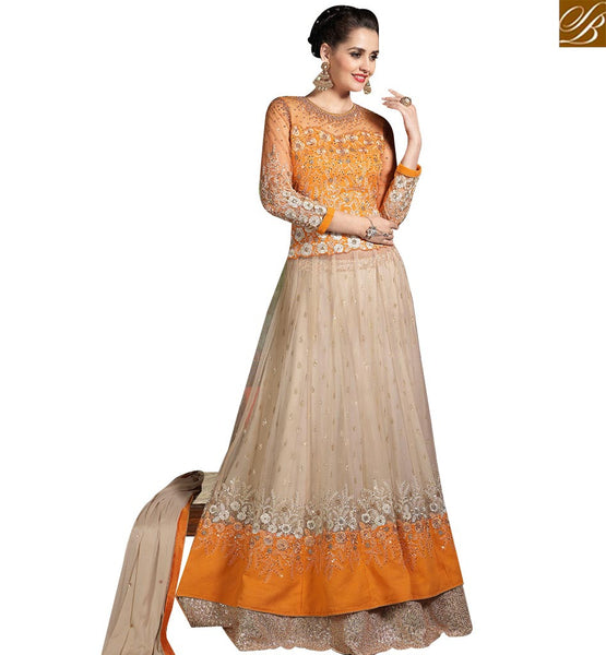 STYLISH BAZAAR DELIGHTFUL CREAM NET DESIGNER SUIT HAVING STONE WORK ON TOP WITH DUAL BOTTOM SLMHK20008