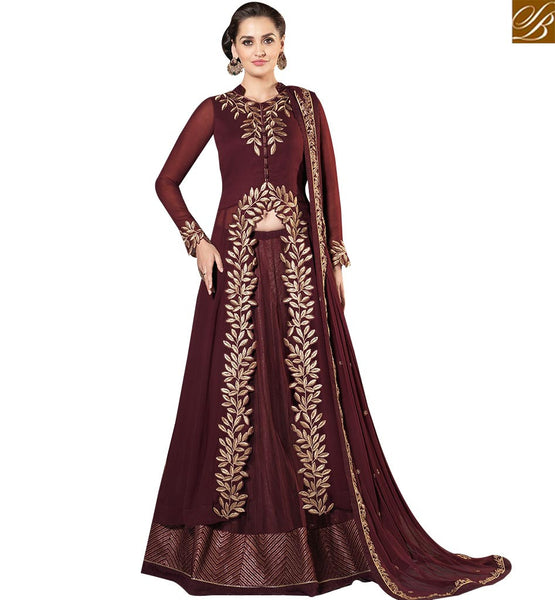 STYLISH BAZAAR WONDERFUL BROWN GEORGETTE DESIGNER SUIT MODERN STYLE WITH BROWN NET LEHENGA SLMHK20009