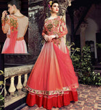 ANARKALI SUIT PATTERN FOR RAMADAN EID 2015 RED HEAVY ZARI SILK THREADWORK WITH STONE WORK AND LACE BORDER SHADED DRESS