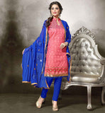 SHALWAR KAMEEZ DESIGNS OF 2015 DRESSES COLLECTION FOR TRENDY AND STYLISH WOMEN  CHANDERI FABRIC PEACH KAMEEZ WITH BLUE COTTON SALWAR AND NAZNEEN DUPATTA