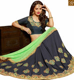 FROM STYLISH BAZAAR STRIKING GREY AND GREEN GEORGETTE HALF N HALF WEAR DESIGNER SAREE WITH PARTY EMBROIDERED SLARD2001